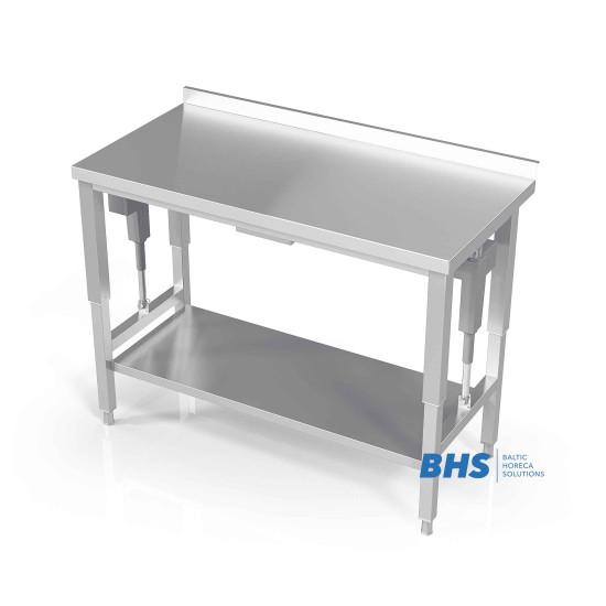 Stalas su reguliuojamu aukščiu ir lentyną