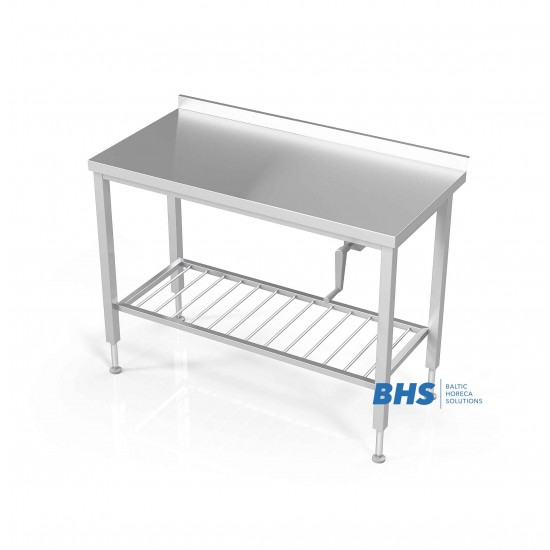 Stalas su reguliuojamu aukščiu su tinklelio lentyna