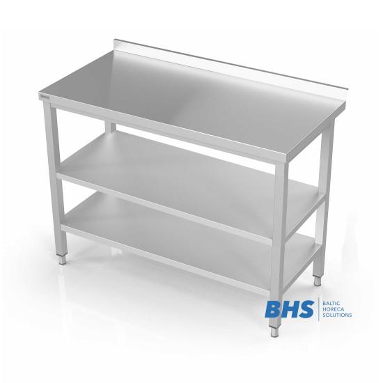 Metalinis stalas su dviem lentynomis
