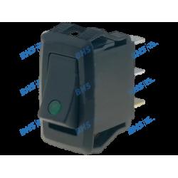 Rocker switch; (ON)-OFF, nonfixed, 3pins. 10A/250Vac, 27.2x13.6mm illuminated, SPST green 12V LED