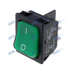 Rocker switch; ON-ON fixed, 4pins. 10A/250Vac 31.5x25.2mm DPST black body illuminated green rocker NEON