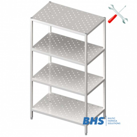 Easy assembly perforated shelves