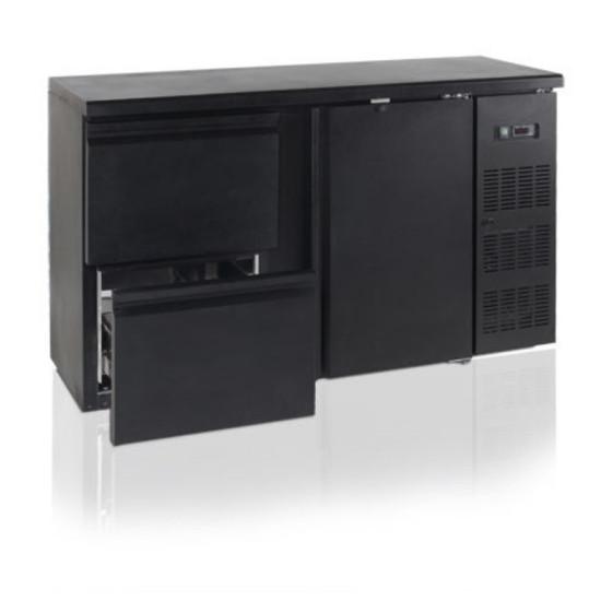 Baro šaldytuvas su stalčiais