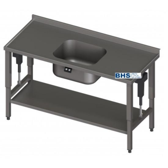 Metalinis stalas su reguliuojamu paviršiumi  ir kriauklė