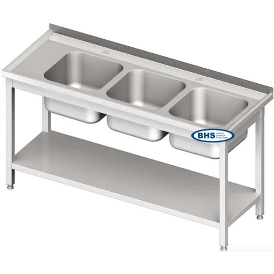 Metaliniai stalai su triem kriauklėm, su lentyna
