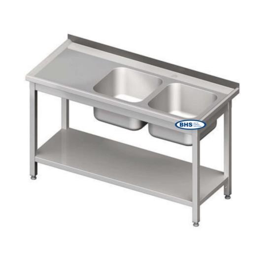 Metaliniai stalai su dviem kriauklėm ir lentyną