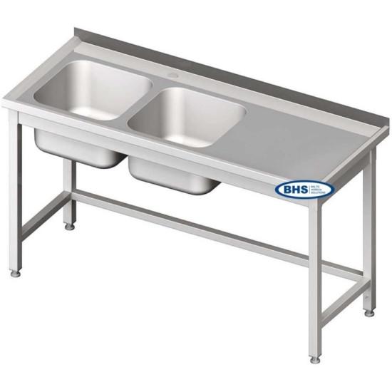 Metaliniai stalai su dviem kriauklėm, be lentynos