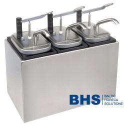 Šildomas dispenseris padažoms su 3 siurbliais