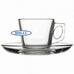 Stiklinis kavos puodelis/lėkštutė