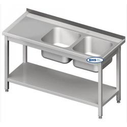 Metalinis stalas su dviem kriauklėm ir lentyna 1000